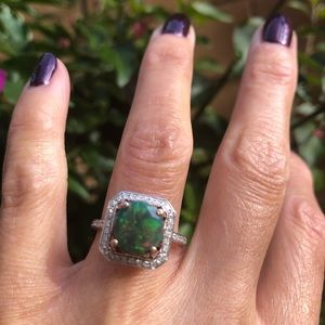 Jewelry - 14K Rose Gold Black Opal Diamonds Ring